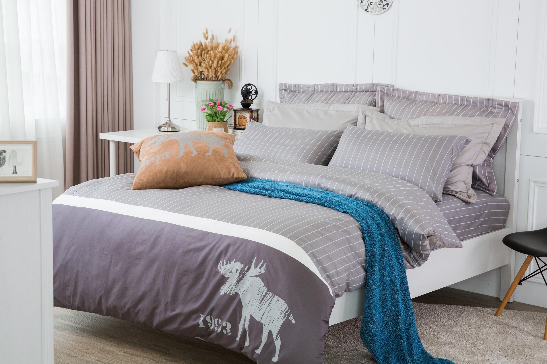 RueHong(寢具)精梳棉系列床包+被套-北歐國度(時尚灰)