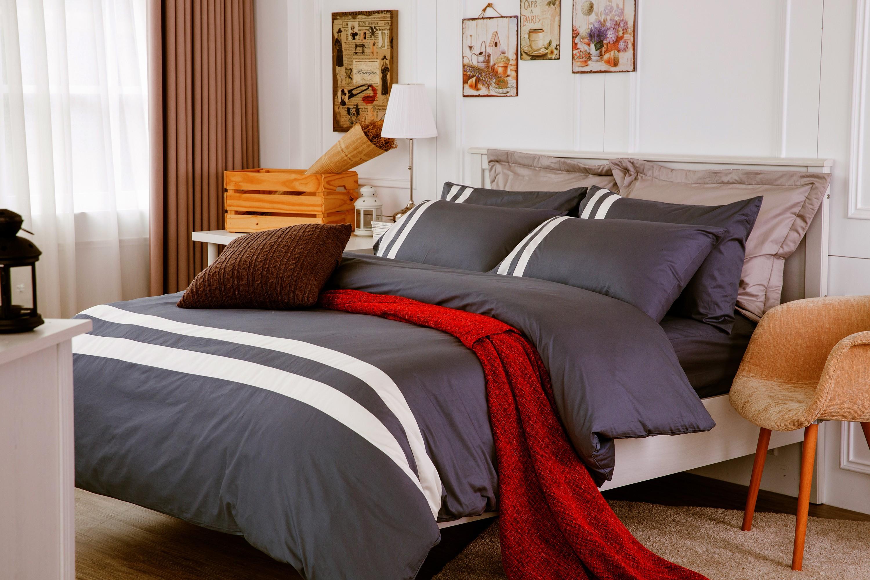 RueHong(寢具)MIT台灣製經典素色系列床包+兩用被-極簡風尚(個性灰)