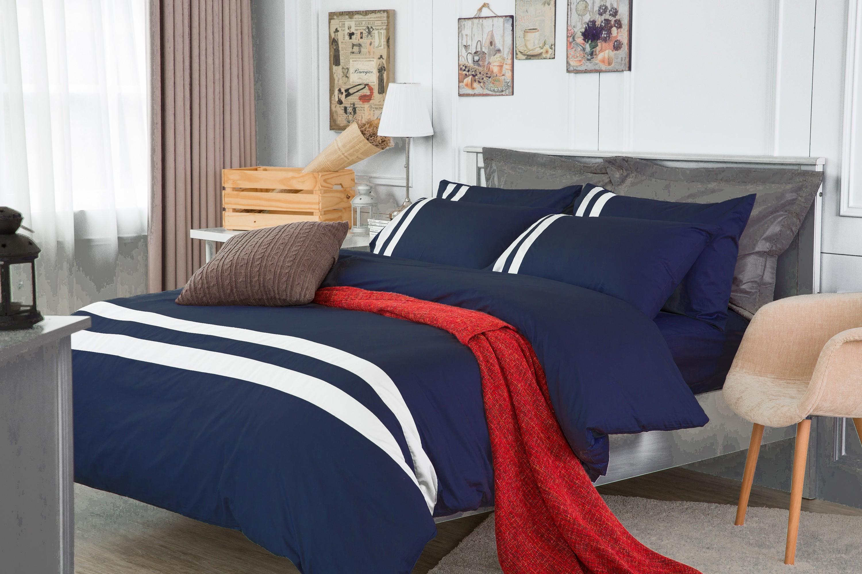 RueHong(寢具)經典素色系列床包+被套-極簡風尚(深邃藍)