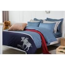 RueHong(寢具)精梳棉系列床包+被套-北歐國度(尊爵藍)