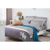 RueHong(寢具)精梳棉系列床包+兩用被-北歐國度(時尚灰)