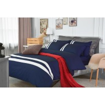 RueHong(寢具)經典素色系列床包+兩用被-極簡風尚(深邃藍)